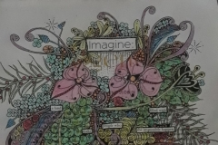 IMAGINE  8 X 10 /11 X 14 Altered page  $300 Kathy Freeburn  Archival ink. watercolor pencil, magazine page