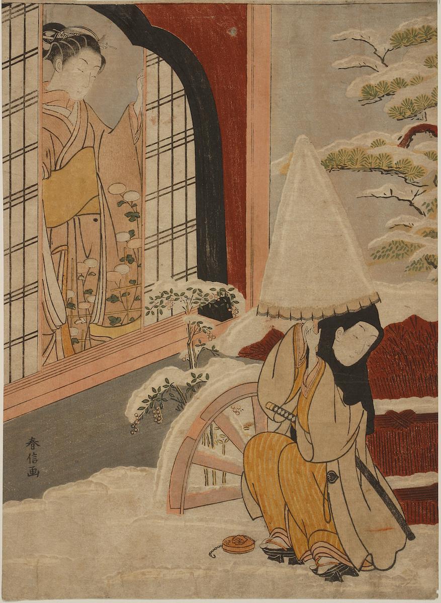 Suzuki-Harunobu-A-Woman-at-a-Window-Man-Outside-1770-polychrome-woodblock-print-11.5_-x-8.5_-1928.76