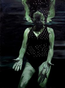 """Kat O'Connor, """"Eclipse,"""" oil on paper, 30"""" x 22"""""""