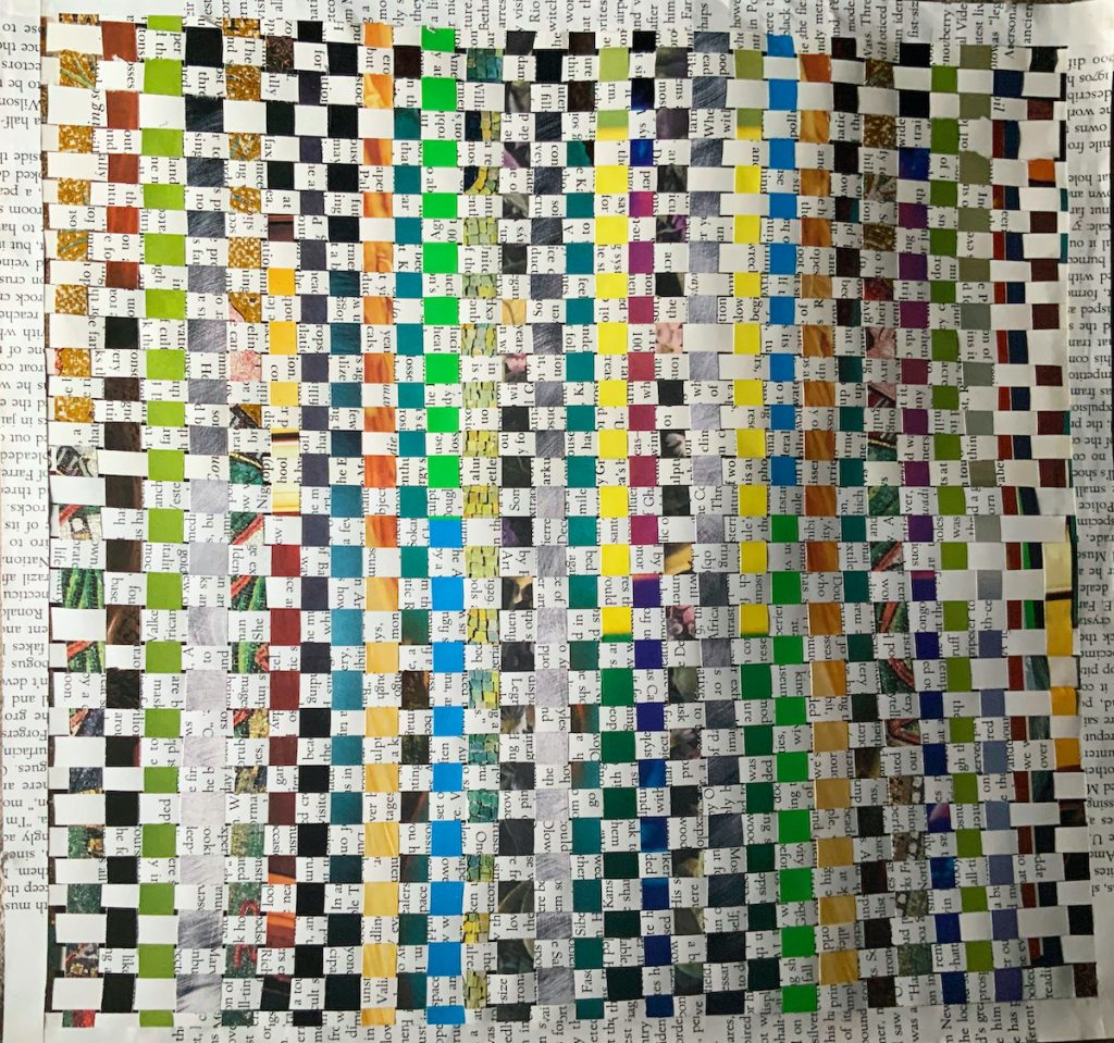 a student's paper weaving