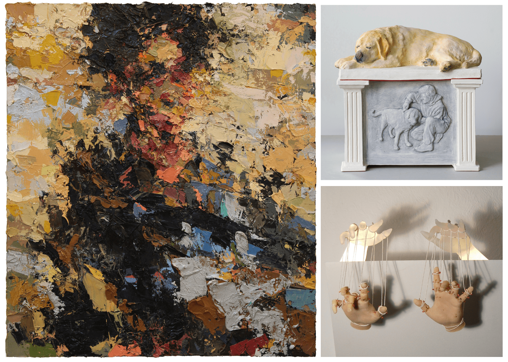 """(images clockwise from left) Joshua Meyer, Lacrimoso, oil on canvas, 16"""" x 18"""";  Evan Morse, Dog Fur Reliquary, terra cotta, dog fur, acrylic paint, glass,15"""" x 15"""" x 10"""";  Katie Dye, It's All in the Wrist, glass, wood, metal, 20"""" x 18"""" x 17"""""""